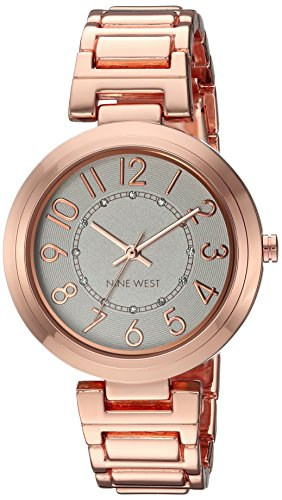 Gold Color Links Crystal Watch (Nine West Women's Quartz Metal and Alloy Dress Watch, Color:Rose Gold-Toned)