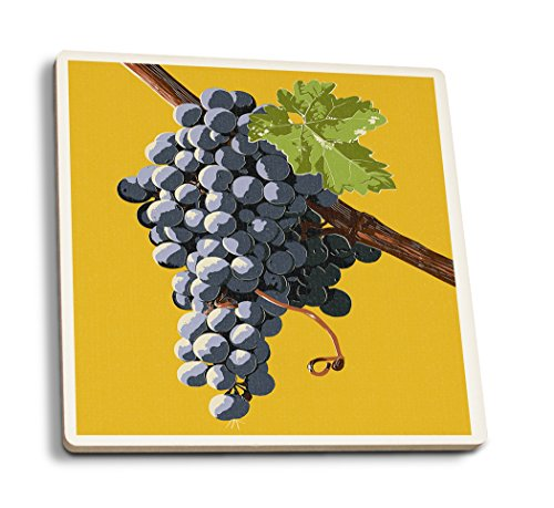 Wine Grapes - Letterpress (Set of 4 Ceramic Coasters - Cork-Backed, Absorbent) ()