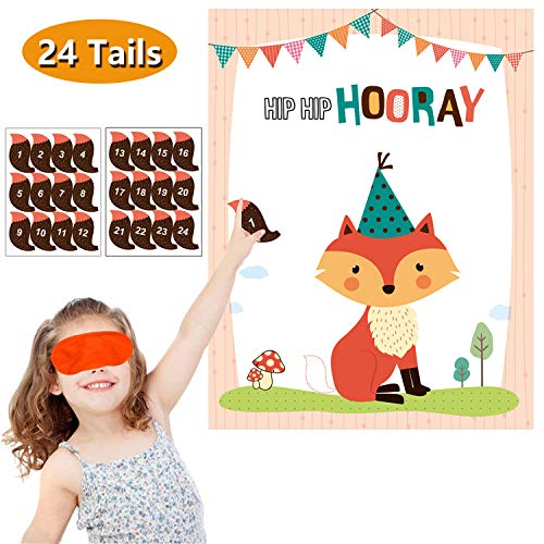 MISS FANTASY Woodland Party Supplies Pin the Tail on the Fox Baby Shower Games Woodland Party Games Activities Favors for Kids Set of 24 Stickers -
