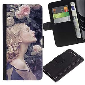Planetar® Modelo colorido cuero carpeta tirón caso cubierta piel Holster Funda protección Para Sony Xperia Z3 Compact /D5803 / D5833 ( Braided Hair Spring Vignette Rose )
