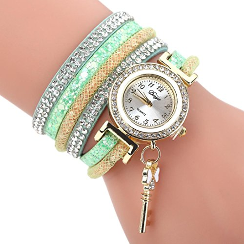 Swyss Women's Popular Multi-Layer Diamond Bracelet Quartz Watch Key Pendant Chic Jewelry Charm Accessories Fashion Gift (Green)