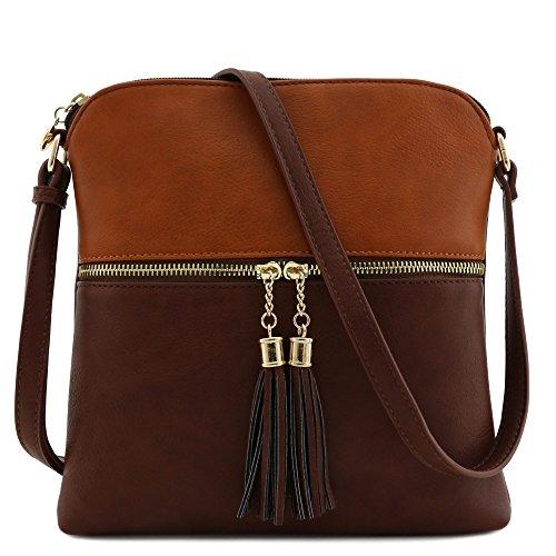 Tassel Zip Pocket Crossbody Bag Dark Tan/Brown