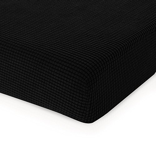 CHUN YI Jacquard Cushion Covers High Stretch Loveseat Slipcover Furniture Protector for Sofa Settee and Couch Seat Coat(Chair, Black) (Patio Black Cushions)