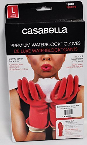 - Casabella Water Stop Premium Gloves Large Pink by Casabella