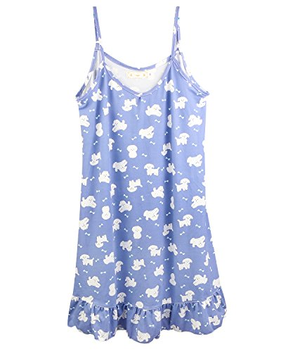 BOOPH Girls Nightgown, Big Girl Sleeveless Sleepwear Cute Dog Spaghetti Strap Nightwear Dress for Teenage Girls 14-16 Year Old -