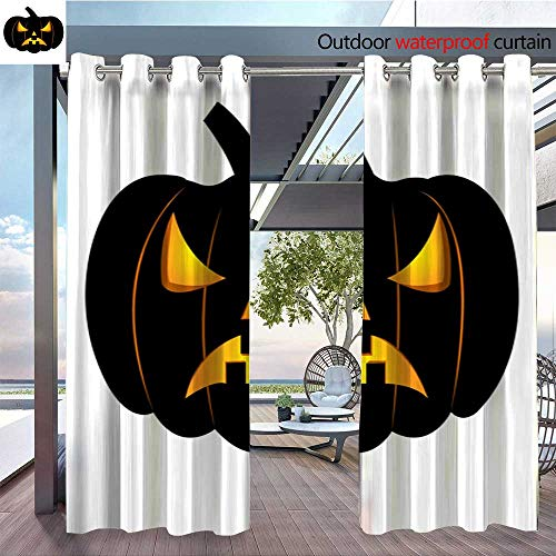 Exterior/Outside Curtains Abstract Halloween pumpkin1113 for Patio Light Block Heat Out Water Proof Drape W72 x L108/Pair -