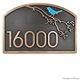 Songbird Address Plaque 18x12 - Raised Bronze Metal Coated with Painted Songbird Option