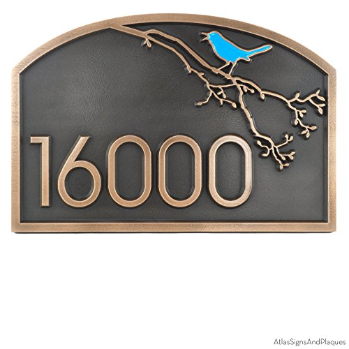 Songbird Address Plaque 18x12 - Raised Bronze Metal Coated with Painted Songbird Option by Atlas Signs and Plaques