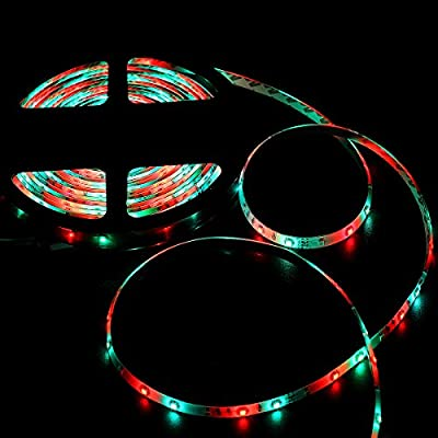 NEW 2018 LED Strip Lights Kit Waterproof – TWO 16.4ft 600 LEDs SMD 3528 RGB Light with 44 Key Remote Controller, Extra Adhesive Tape, Flexible Changing Multi-Color Lighting Strips for TV, Room