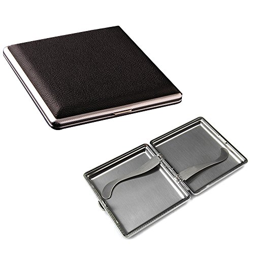 Portable Stainless Steel and Leather Double Sided Flip Open Extra Slim Metal Cigarette Case Box Holder Holds 20 Cigarettes (Style 1)
