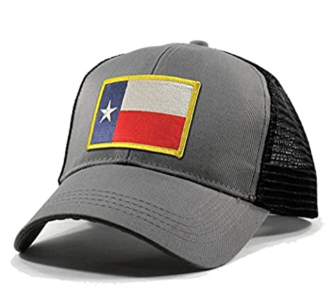 Homeland Tees Men's Texas Flag Patch Trucker Hat - Grey
