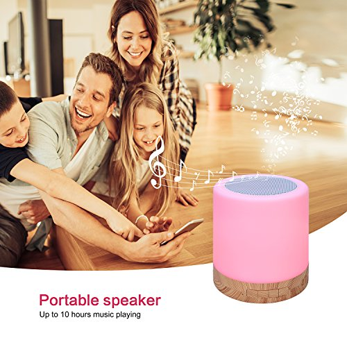 Table Lamp with Bluetooth Speaker – Perfect for Bedside Night Stand, Desk or Table – Six Color LED Light with Touch Control – Audio Speaker - Faux Wood Base by Dependable Direct (Image #6)