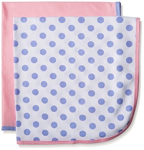 Gerber Baby Girls' 2 Pack Thermal Blankets, Polka Dots, One Size Cotton Thermal Receiving Blanket