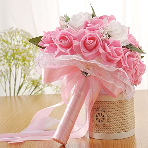 Maikouhai Artificial Flowers, Bride Bridesmaid Wedding Bouquet Bridal Lace Fake Hand Holding Flowers Party Decor for Home Cafe Hotel Bedroom Office Decor, 25x20cm (Pink)