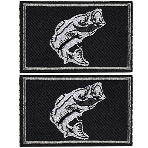 2Pcs Fishing Patches, Tactical Wildlife Largemouth Bass Patch, Black