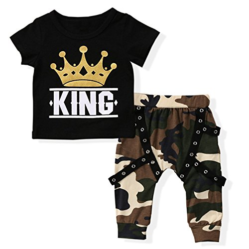 Baby Boys Crown Letter Print T-Shirt Outfit Clothes Set Camouflage Pants(12-18 Months)