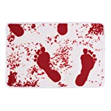 Color Changing Bathroom Mat BROSHAN Bath Rugs Bloody Footprint bath Mat Doormat Funny Unchanging Color Bloody Bath Mat Non-slip Bathroom Mats Washable Doormat Rug Outdoor Entrance Mat Carpet (Red)