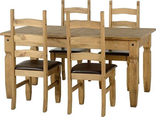 Corona ausziehbarer Esstisch mit 4 Stühlen, Braun