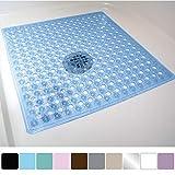 Gorilla Grip Original Patented Bath, Shower, Tub Mat (21x21) Machine Washable, Antibacterial, BPA, Latex, Phthalate Free, Square Bathroom Mats with Drain Holes, Suction Cups (Blue)