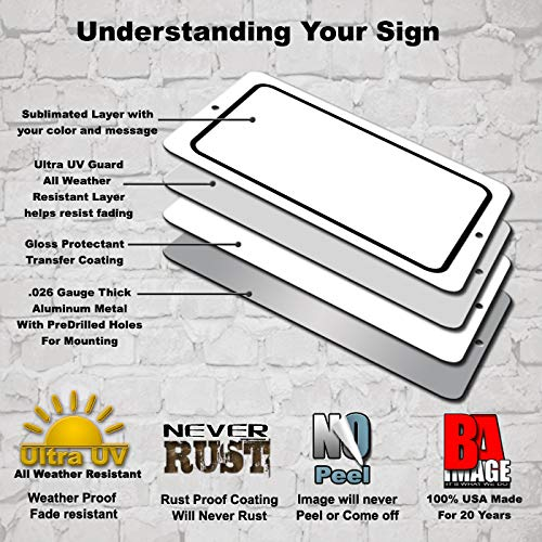 BA IMAGE Personalized Custom White 007 Aluminum Metal Sign with Your Name! (12x18 White w/Black, Horizontal)