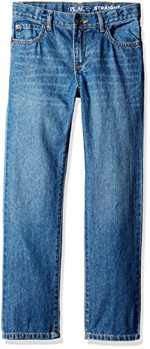 The Children's Place Boys' Straight Leg Jeans, Carbon, 8 Husky