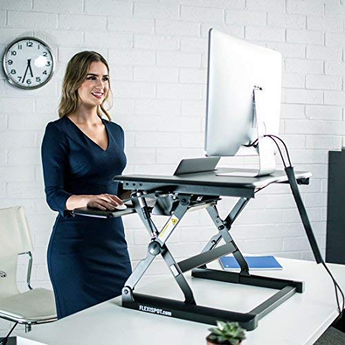 FlexiSpot M8MB Standing Desk - 35'' Height Adjustable Tabletop Workstation Sit to Stand Gas Spring Riser Converter with Spacious and Quick Release Keyboard Tray