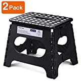 Acko Folding Step Stool Lightweight Plastic Step Stool - 11' Height - 2 Pack - Foldable Step Stool for Kids and Adults,Non Slip Folding Stools for Kitchen Bathroom Bedroom (Black, 2 Pack)