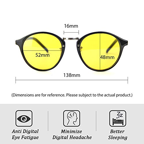 4c4ad9811d Cyxus Blue Light Filter Computer Glasses VIntage Retro Round for Blocking UV  Minimize Headache Sleep Better
