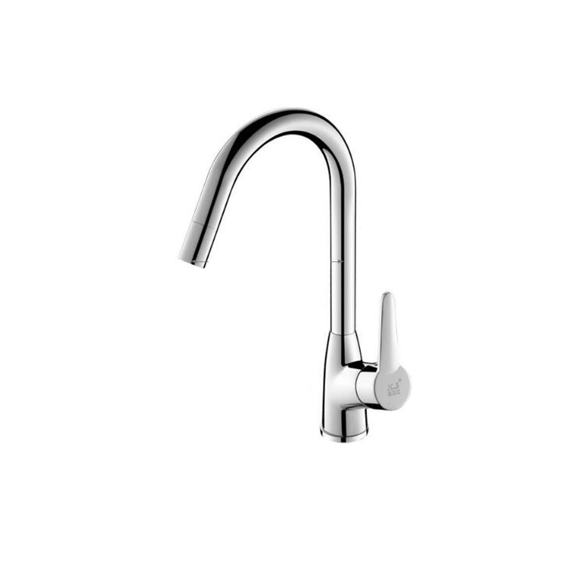 QIANZICAIDIANJIA Single Handle Kitchen Faucet,Single Level Stainless Steel Kitchen Sink Faucets,Sprayer, Easy To Install stainless steel faucet (Color : Silver) by QIANZICAIDIANJIA