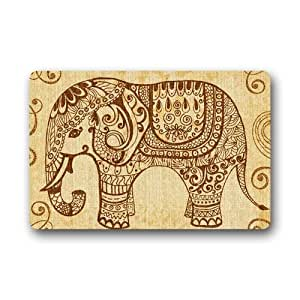 CoolYoYo Funny Retro Vintage Welcome Elephant Pattern Custom Doormat Design Non-woven Fabric Multifuntional Doormat Indoor or Outdoor Use Size 23.6''*15.7''