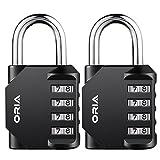 ORIA Combination Locks, 4-Digit Padlock, Combination Lock Set, Waterproof Design for Outdoor Locker, School, Employee, Gym Or Sports Locker, Case, Toolbox, Fence, Hasp Cabinet and Storage -2 Pack