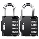 #8: ORIA Combination Lock, 4 Digit Combination Padlock Set, Metal and Plated Steel Material for School, Employee, Gym or Sports Locker, Case, Toolbox, Fence, Hasp Cabinet and Storage, Pack of 2