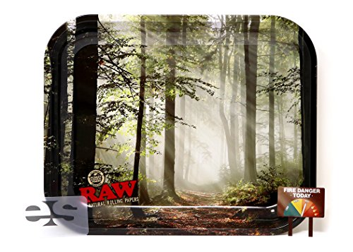 RAW Smokey Forest Trees Metal Rolling Tray (Large (Custom Rolling Papers)
