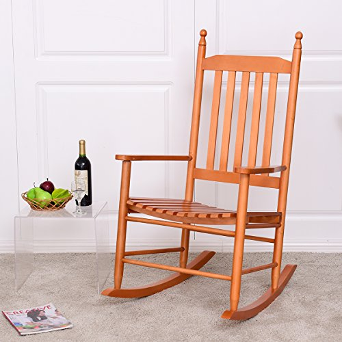 Wooden Rocker - Giantex Wood Outdoor Rocking Chair, Wooden Rocking Chairs for Porch, Patio, Living Room, Porch Rocker for adults (Walnut)