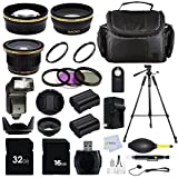 Professional 58mm / 52mm Accessory Kit For Canon EOS Rebel (T5i T4i T3i T2i T1i XT XTi XSi SL1) DSLR Cameras Includes: 0.43X Wide Angle, 2.2X Telephoto & 0.38X Fisheye Lens + 5 Pc. Filter Kit + 72'' Tripod + 32GB Memory Card & more