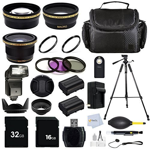 Professional 58mm / 52mm Accessory Kit For Canon EOS Rebel (T5i T4i T3i T2i T1i XT XTi XSi SL1) DSLR Cameras Includes: 0.43X Wide Angle, 2.2X Telephoto & 0.38X Fisheye Lens + 5 Pc. Filter Kit + 72'' Tripod + 32GB Memory Card & more by Fumfie