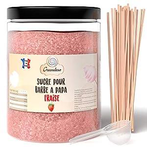 Greendoso-Azúcar para Algodón de Azúcar, Fresa de 1 Kg, Nubes, Polvo para Máquina + 50 Palitos de 30 Cm (Ofrecido) + 1… 8