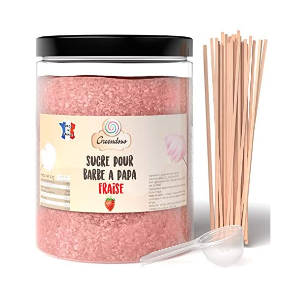 Greendoso-Azúcar para Algodón de Azúcar, Fresa de 1 Kg, Nubes, Polvo para Máquina + 50 Palitos de 30 Cm (Ofrecido) + 1… 2