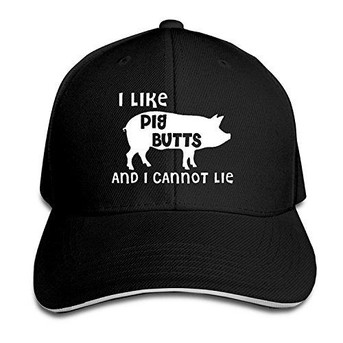 I Like Pig Butts And I Cannot Lie Snapback Sandwich Peak Baseball Cap Hat