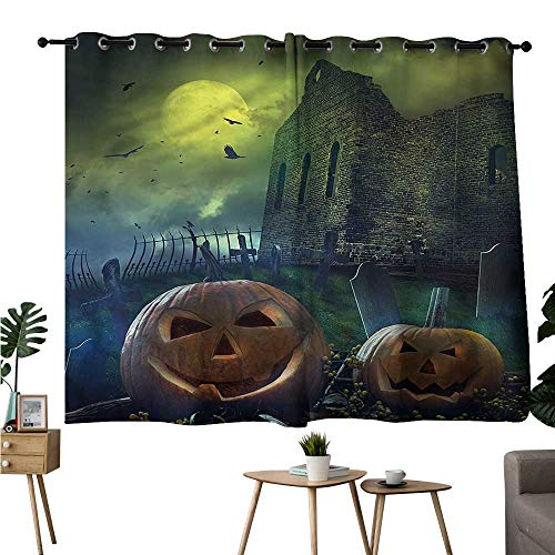Alexandear Pattern Darkening Curtains Grommet Curtain Backdrop Halloween,Pumpkin in Spooky Grave Two Panels W72 x L45 -