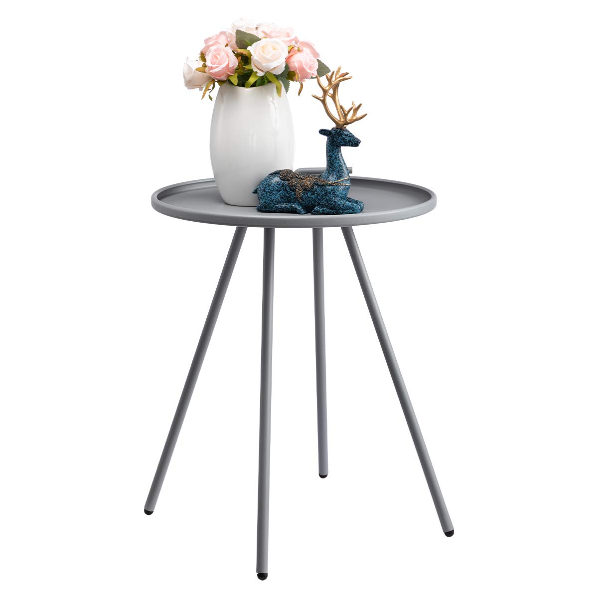 HollyHOME Convenient Patio Steel Side Table with Handle, Accent Small Coffee Snack Table, Round Metal End Table for Outdoor or Indoor Use, H 19.50 x D 16.38 , Grey