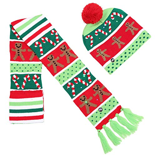 OUYAWEI Unisex Christmas Halloween LED Lights Knitted Hat and Scarf Set Fashion Wear Crutches One Size for $<!--$8.07-->