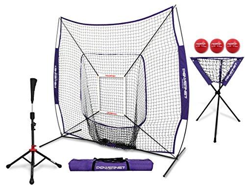 PowerNet DLX Pro Bundle (Baseball Softball Net w/ Strike Zone, 3 Training Balls, Travel Tee, & Ball Caddy) (Softball Target)