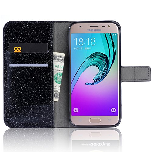 Para Samsung Galaxy J5 (2017) J530 Resplandecer Bling Cadena de diamantes PU Funda de cuero, cubierta del soporte del tirón Cartera Titulares Magnética del cierre Ultra Thin Flip Funda protectora con  Negro
