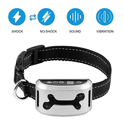Bark Collar [2018 Smart Chip] Dog Shock Anti-Barking Collar with Beep, Vibration and Harmless Shock. No Bark Control for Small/Medium/Large Dogs with 7 Sensitivity Levels, Rechargeable and Rainproof