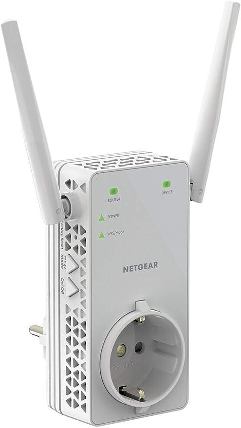 Netgear EX6130 - Amplificador Señal WiFi AC1200, Repetidor WiFi de Enchufe Doble Banda, Puerto LAN, Compatibilidad Universal, Blanco