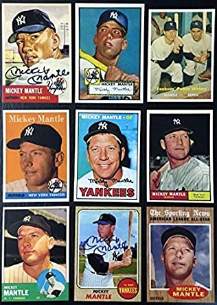 Mickey Mantle 9 Card Reprint Lot 1952 1953 1957 1958 1961 1962