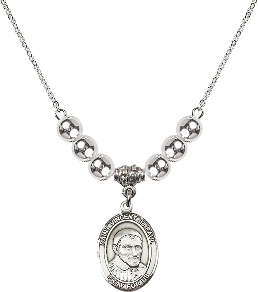 18-Inch Rhodium Plated Necklace with 6mm Sterling Silver Beads and Sterling Silver Saint Vincent de Paul Charm.