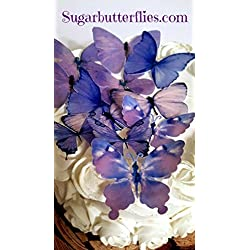Edible Wafer Pastel Lilac Butterfly- Cake/cupcake Toppers Collection of 12
