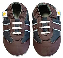 Ministar Boys Baby Infant Toddler Prewalker Leather Shoes - Navy & Brown - Large 12-18 mo.